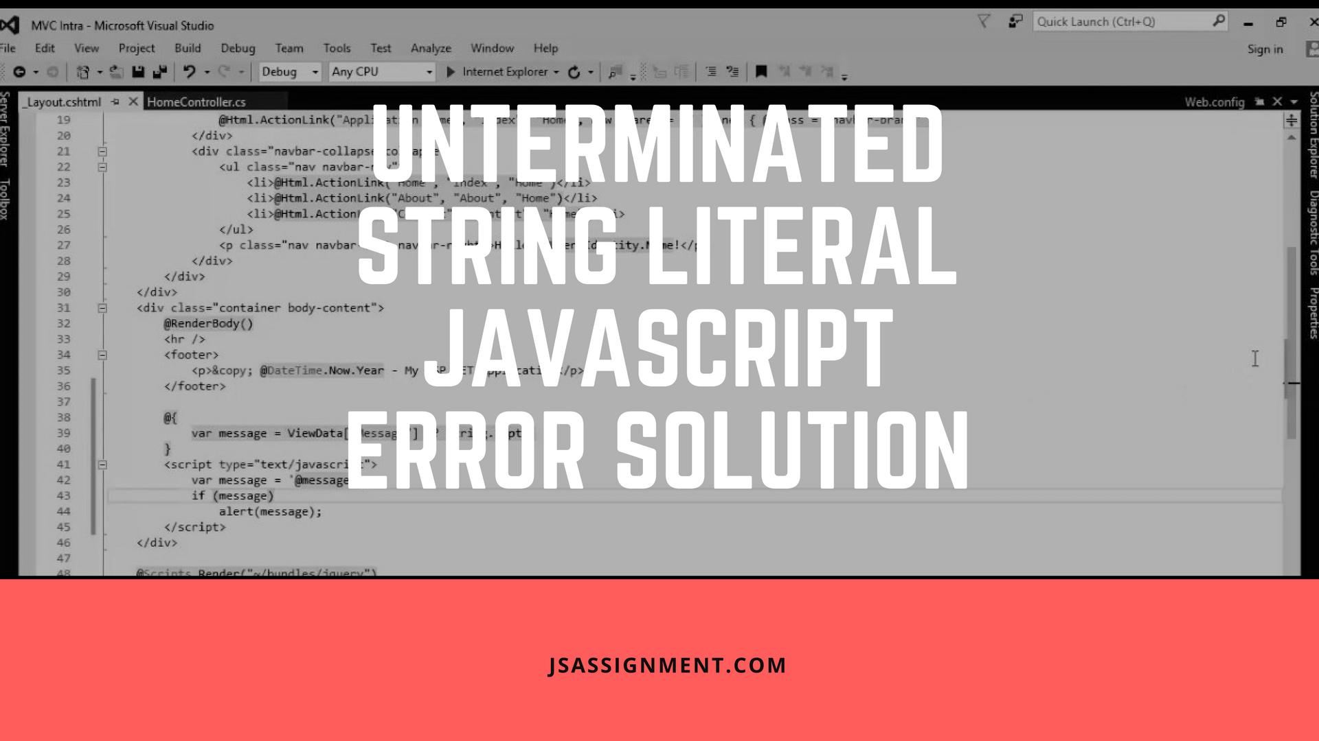 fast unterminated string literal javascript error solution