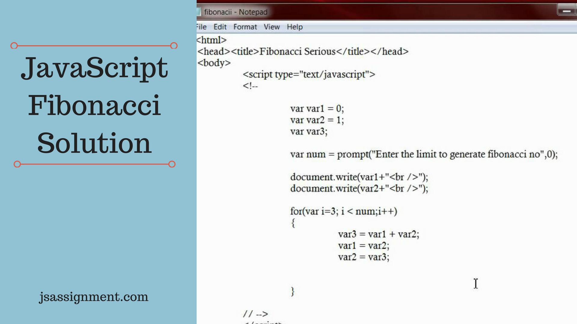 fibonacci javascript solution sample